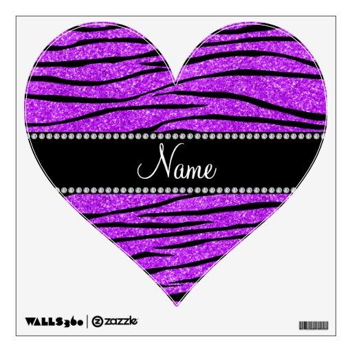 Personalize name neon purple glitter zebra stripes wall stickers