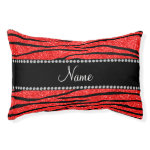 Personalize name neon red glitter zebra stripes small dog bed