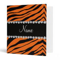 Personalize name orange tiger stripes binder