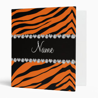 Personalize name orange tiger stripes binder