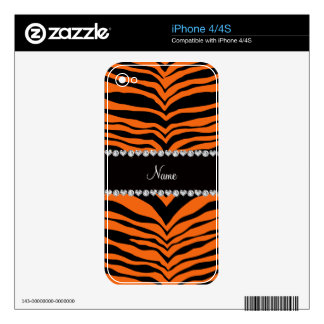 Personalize name orange tiger stripes decals for iPhone 4