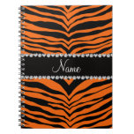 Personalize name orange tiger stripes spiral note books