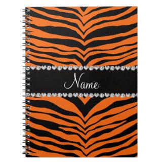 Personalize name orange tiger stripes notebook