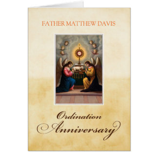 Personalize Name Ordination Anniversary Angels at Card