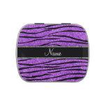 Personalize name pastel purple glitter zebra strip jelly belly candy tins