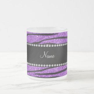Personalize name pastel purple glitter zebra strip frosted glass coffee mug