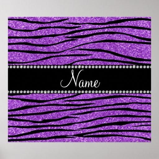 Personalize name pastel purple glitter zebra strip poster