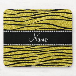 Personalize name pastel yellow glitter zebra strip mouse pad