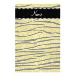 Personalize name pastel yellow glitter zebra strip stationery paper