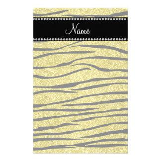 Personalize name pastel yellow glitter zebra strip stationery