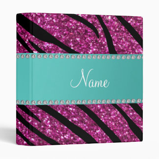 Personalize name pink glitter zebra stripes 3 ring binders