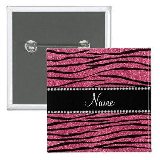 Personalize name pink glitter zebra stripes button