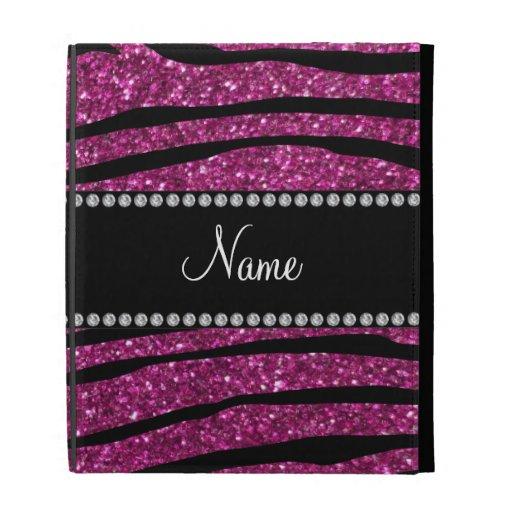 Personalize name pink glitter zebra stripes iPad case