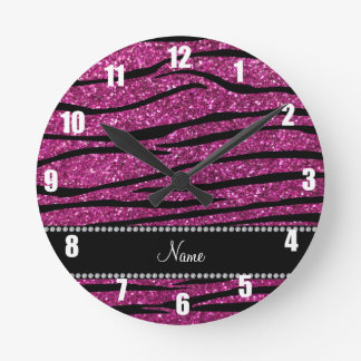 Personalize name pink glitter zebra stripes round wall clocks