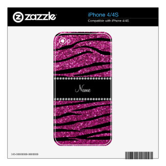 Personalize name pink glitter zebra stripes decals for iPhone 4
