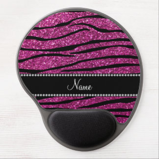 Personalize name pink glitter zebra stripes gel mouse pad