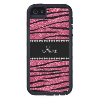 Personalize name pink glitter zebra stripes iPhone SE/5/5s case
