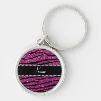 Personalize name pink glitter zebra stripes keychain