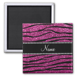 Personalize name pink glitter zebra stripes magnet