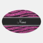 Personalize name pink glitter zebra stripes stickers