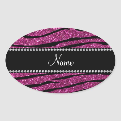 Personalize name pink glitter zebra stripes stickers