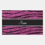 Personalize name pink glitter zebra stripes rectangle sticker