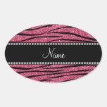 Personalize name pink glitter zebra stripes sticker