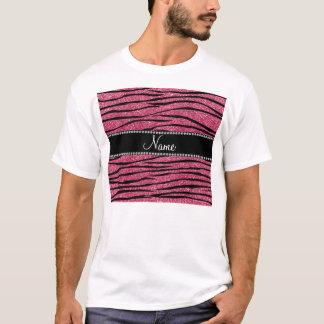 Personalize name pink glitter zebra stripes T-Shirt