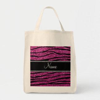 Personalize name pink glitter zebra stripes tote bag