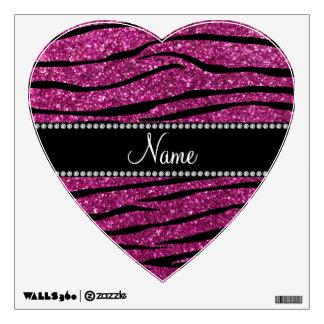 Personalize name pink glitter zebra stripes wall sticker