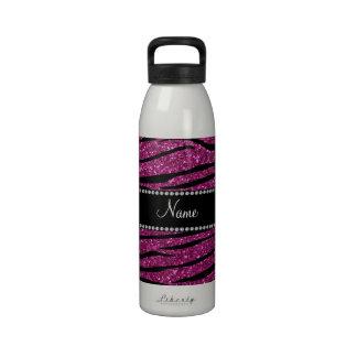 Personalize name pink glitter zebra stripes reusable water bottle