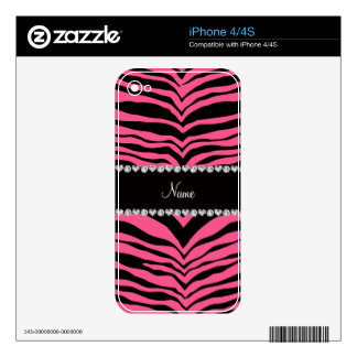 Personalize name pink tiger stripes iPhone 4 skins