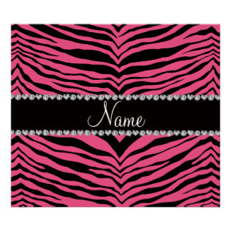 Personalize name pink tiger stripes posters