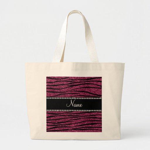 Personalize name plum purple glitter zebra stripes bags