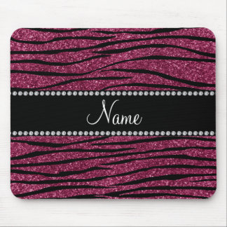 Personalize name plum purple glitter zebra stripes mouse pads