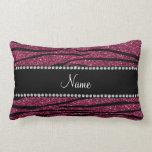 Personalize name plum purple glitter zebra stripes pillow