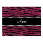 Personalize name plum purple glitter zebra stripes postcard