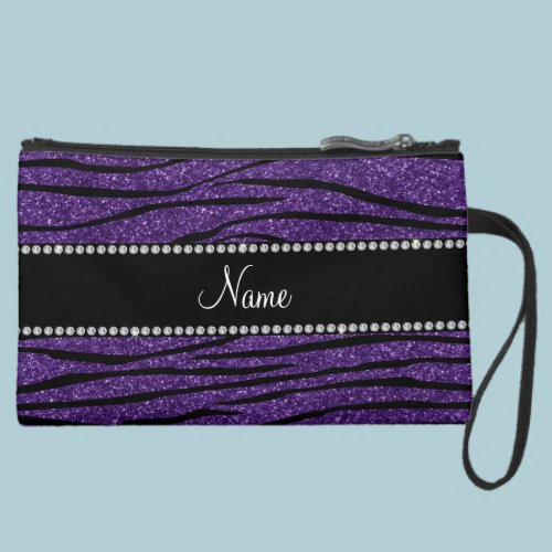 Personalize name purple glitter zebra stripes wristlet purses