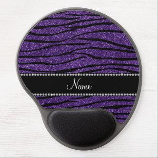 Personalize name purple glitter zebra stripes gel mouse pad