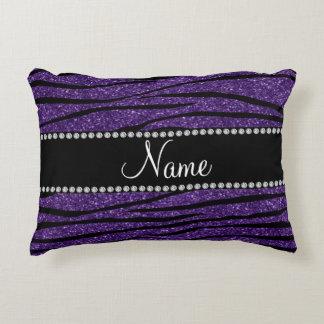 Personalize name purple glitter zebra stripes accent pillow