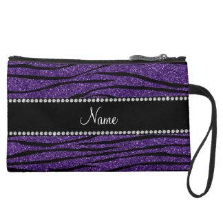 Personalize name purple glitter zebra stripes suede wristlet wallet