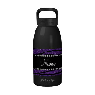 Personalize name purple glitter zebra stripes reusable water bottles