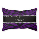 Personalize name purple tiger stripes small dog bed