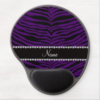 Personalize name purple tiger stripes gel mousepads