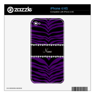 Personalize name purple tiger stripes iPhone 4S decals