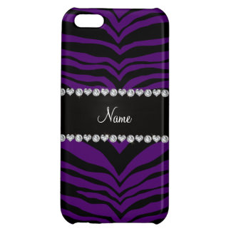 Personalize name purple tiger stripes iPhone 5C cover