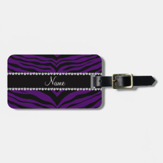 Personalize name purple tiger stripes luggage tag