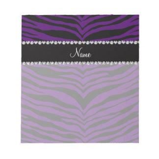 Personalize name purple tiger stripes memo notepad