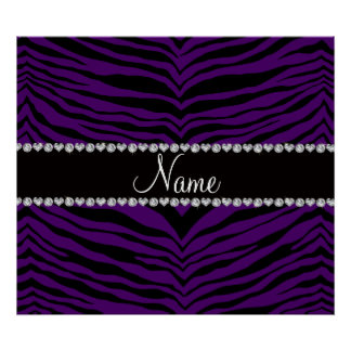 Personalize name purple tiger stripes posters
