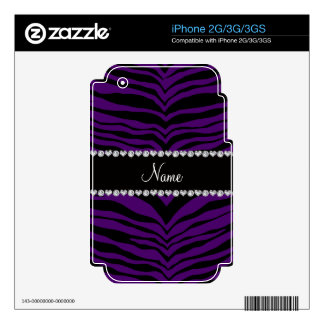 Personalize name purple tiger stripes decal for the iPhone 2G